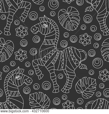 Seamless Pattern With Zebras, Light Outline Animals, Flowers And Leaves On A Dark Background