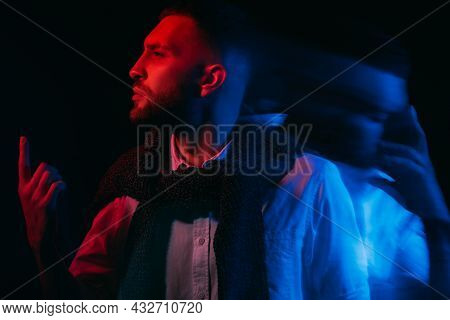 Psychology Problem. Depressed Man. Split Personality. Emotional Stress. Dual Expressive Guy Feeling