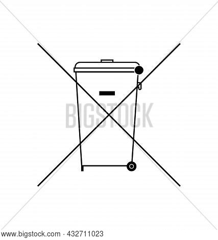 The Crossed Out Wheelie Bin Symbol , Waste Electrical And Electronic Equipment Recycling Sign. Do No