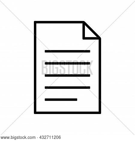 Vector Document Icon Isolated On White Background. File, Text Document, A Sheet Of Paper Document. S