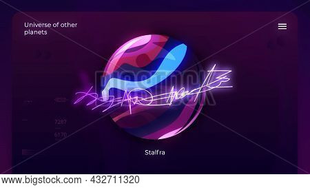 Animation Of Colored Ball With Glowing Lines. Motion. 3d Colored Ball Meaning Planet From Another Un