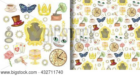 Fairy Tale Alice Through The Looking Glass Set And Seamless Pattern