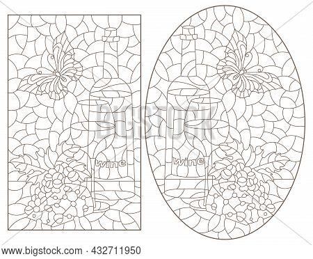 A Set Of Contour Illustrations In The Style Of Stained Glass With Still Lifes With Wine, Dark Contou