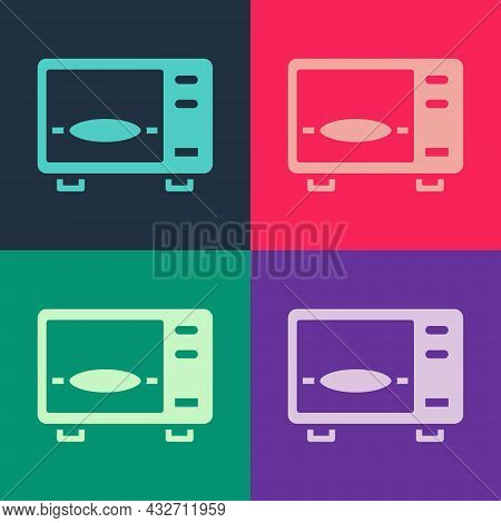 Pop Art Microwave Oven Icon Isolated On Color Background. Home Appliances Icon. Vector