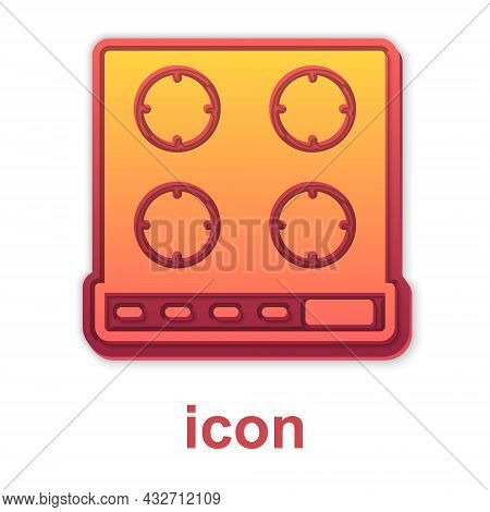 Gold Gas Stove Icon Isolated On White Background. Cooktop Sign. Hob With Four Circle Burners. Vector
