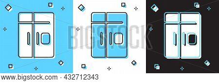 Set Refrigerator Icon Isolated On Blue And White, Black Background. Fridge Freezer Refrigerator. Hou