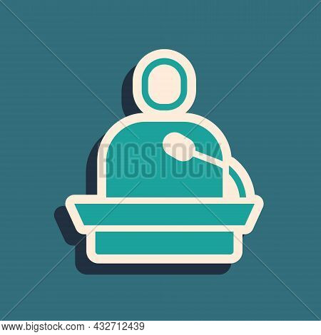 Green Gives Lecture Icon Isolated On Green Background. Stand Near Podium. Speak Into Microphone. The