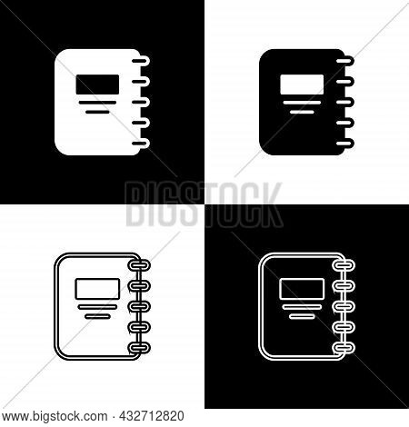 Set Notebook Icon Isolated On Black And White Background. Spiral Notepad Icon. School Notebook. Writ