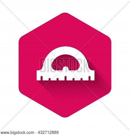 White Protractor Grid For Measuring Degrees Icon Isolated With Long Shadow Background. Tilt Angle Me