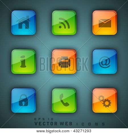 3D web 2.0 mail icons set. Can be used for websites, web applications. email applications or server Icons. EPS 10.