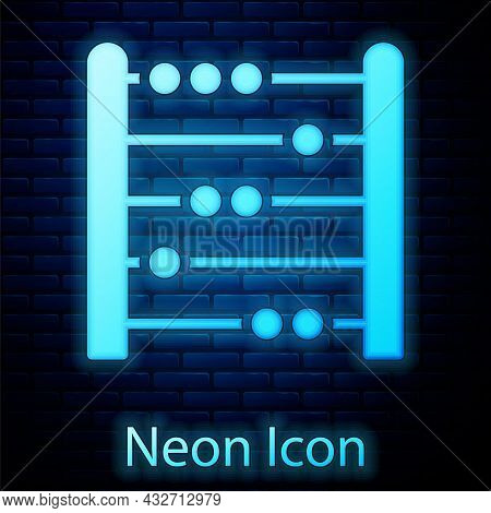 Glowing Neon Abacus Icon Isolated On Brick Wall Background. Traditional Counting Frame. Education Si