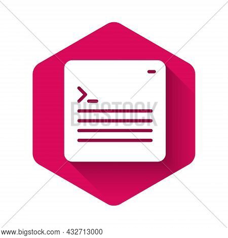 White Software, Web Developer Programming Code Icon Isolated With Long Shadow Background. Javascript
