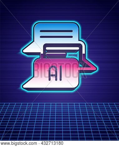 Retro Style Chat Bot Icon Isolated Futuristic Landscape Background. Chatbot Icon. 80s Fashion Party.