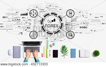 Forex Trading Concept With Person Using A Laptop Computer