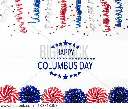 Columbus Day Message With Red And Blue Colored Decorations