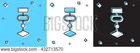 Set Algorithm Icon Isolated On Blue And White, Black Background. Algorithm Symbol Design From Artifi