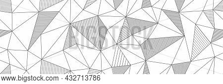 Seamless Linear Pattern Forms Triangles With Hatching Elements. Vector Illustrations For Textures, T