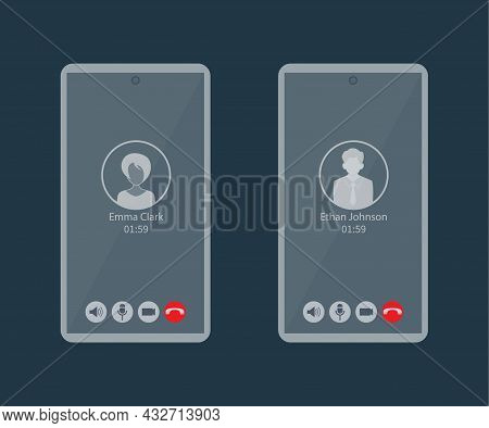Interface Of A Mobile Video Conference Or Video Chat. The Concept Of Remote Communication Via Video