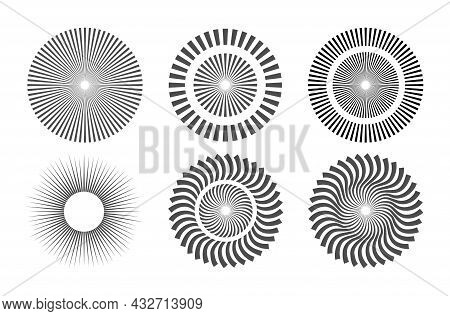 Set Of Options For Sunlight. Collection Of Radial Stripes. Flat Design
