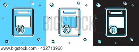 Set Exam Sheet With A Plus Grade Icon Isolated On Blue And White, Black Background. Test Paper, Exam