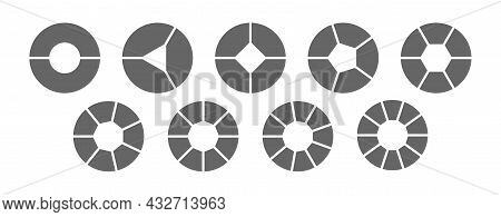 Set Of Pie Charts For 2,3,4,5,6,7,8,9,10 Steps Or Sections. A Template For Illustrating A Business P