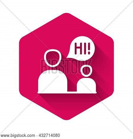 White Two Sitting Men Talking Icon Isolated With Long Shadow Background. Speech Bubble Chat. Message