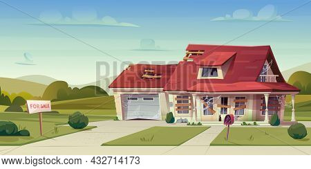 Abandoned House, Empty Broken Cottage, Real Estate Countryside Building Exterior. Two Storey Dwellin