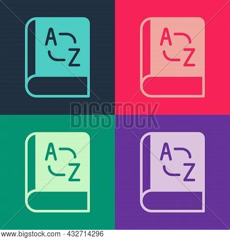 Pop Art Translator Book Icon Isolated On Color Background. Foreign Language Conversation Icons In Ch