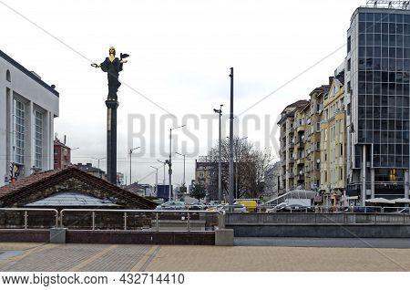 Sofia, Bulgaria - December 03, 2014: Golden Statue Of Saint Sofia, Symbol Of Wisdom And Protector Of