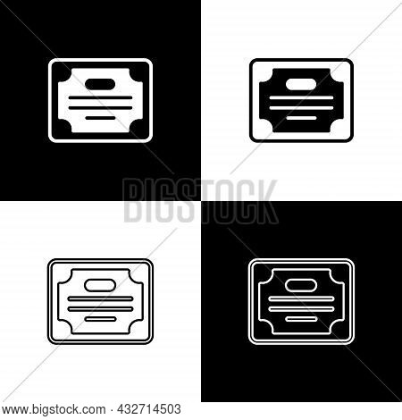 Set Certificate Template Icon Isolated On Black And White Background. Achievement, Award, Degree, Gr