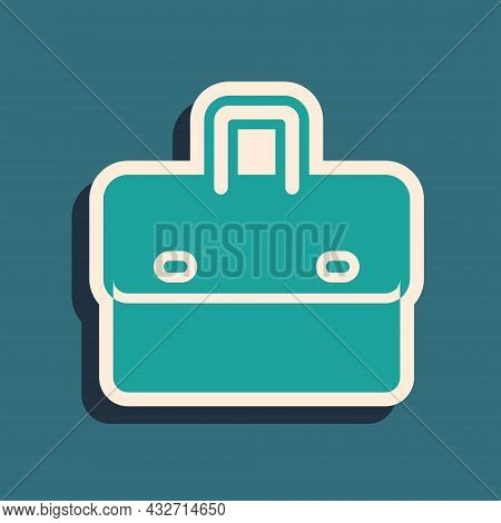 Green Briefcase Icon Isolated On Green Background. Business Case Sign. Business Portfolio. Long Shad