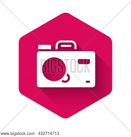 White Photo Camera Icon Isolated With Long Shadow Background. Foto Camera. Digital Photography. Pink