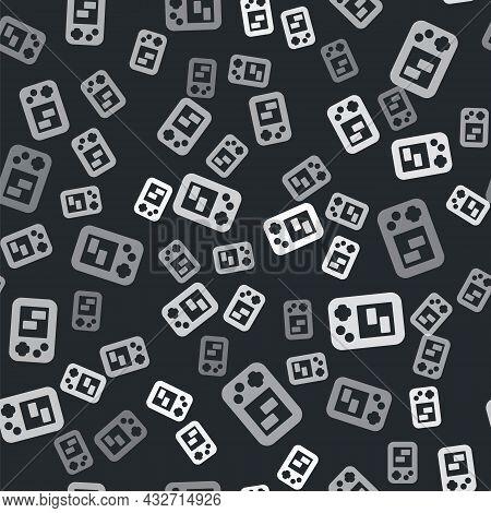 Grey Portable Tetris Electronic Game Icon Isolated Seamless Pattern On Black Background. Vintage Sty