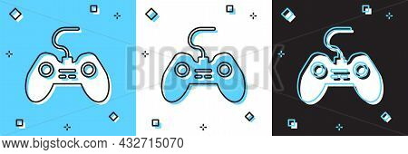 Set Gamepad Icon Isolated On Blue And White, Black Background. Game Controller. Vector