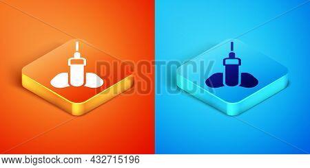 Isometric Dart Arrow Icon Isolated On Orange And Blue Background. Vector