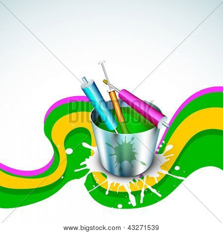 Vector illustration of Indian colorful festival Holi with bucket full of colors and colors gun(pichkari). EPS 10. poster
