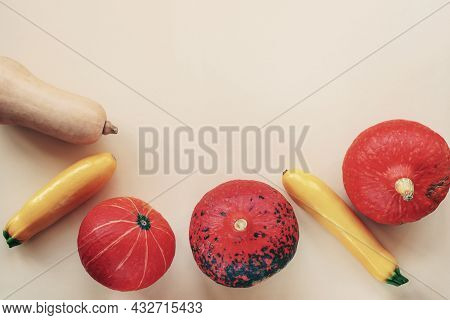 Different Types Of Gourds On A Light Background With Copy Space. Top View, Flat Lay.