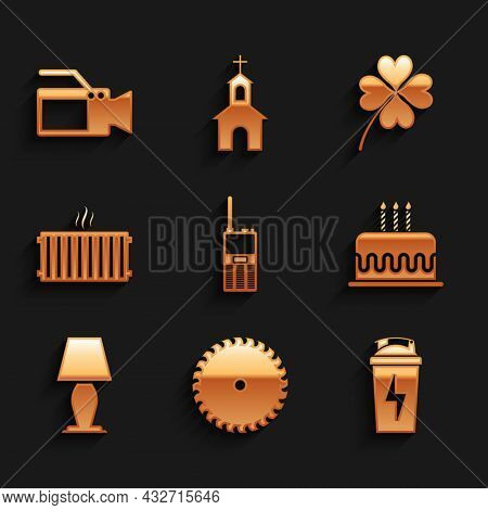 Set Walkie Talkie, Circular Saw Blade, Fitness Shaker, Cake With Burning Candles, Table Lamp And Hea