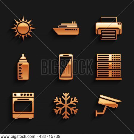 Set Smartphone, Mobile Phone, Snowflake, Security Camera, Server, Data, Web Hosting, Oven And Baby B