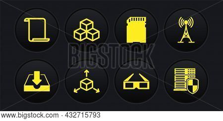 Set Download Inbox, Antenna, Isometric Cube, 3d Cinema Glasses, Sd Card And Icon. Vector
