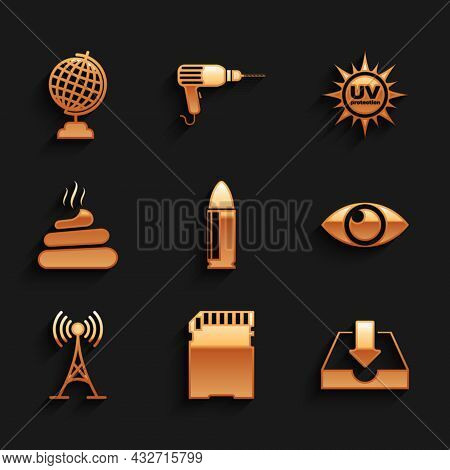 Set Bullet, Sd Card, Download Inbox, Eye, Antenna And Shit Icon. Vector