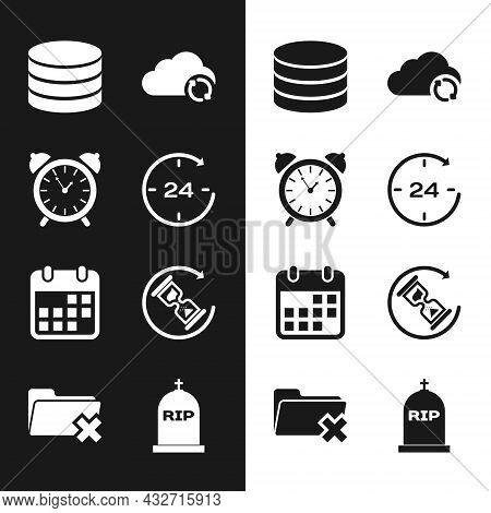 Set Clock 24 Hours, Alarm Clock, Database, Cloud Sync Refresh, Calendar And Waiting Icon. Vector