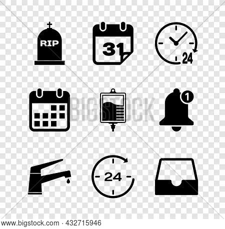 Set Tombstone With Rip Written, Calendar, Clock 24 Hours, Water Tap, And Social Media Inbox Icon. Ve
