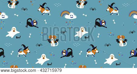 Halloween Kids Masquerade Seamless Pattern. Puppies In Various Party Costumes And Other Characters L