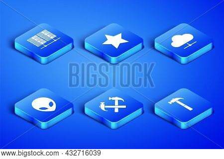 Set Hammer, Server, Data, Web Hosting, Two Crossed Hammers, Alien, Star And Network Cloud Connection