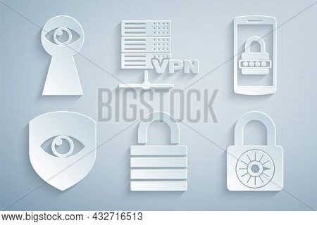 Set Lock, Mobile And Password, Shield Eye, Safe Combination Lock Wheel, Server Vpn And Keyhole With