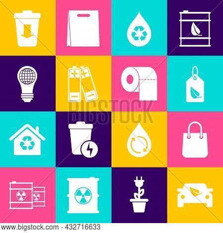 Set Eco Car Drive With Leaf, Shopping Bag, Tag, Recycle Clean Aqua, Battery, Light Bulb World Globe,