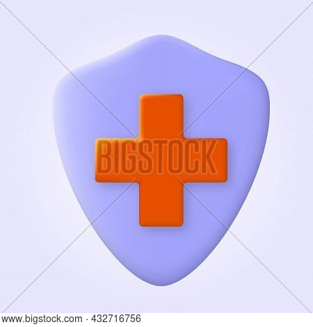 Medical Health Protection Shield With Cross. Virus Germs And Bacteria Protection. Shield Icon, Healt
