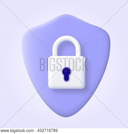 Security Shield Logo 3d Icon. Protection, Safety, Password Security Vector Illustration. Concept Of
