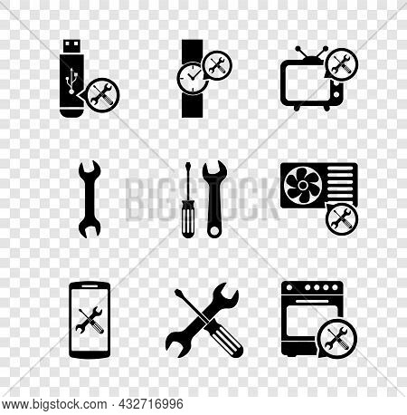 Set Usb Flash Drive Service, Wrist Watch, Tv, Smartphone, Crossed Screwdriver And Wrench, Oven, Wren
